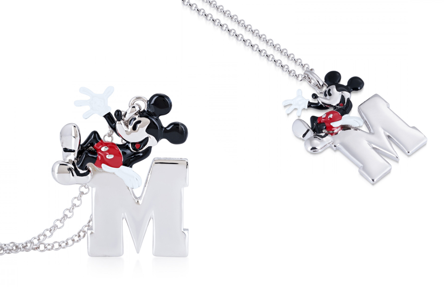 Disney Couture Kingdom Mickey Mouse 90 Years WGold-Plated Clear Crystal Necklace
